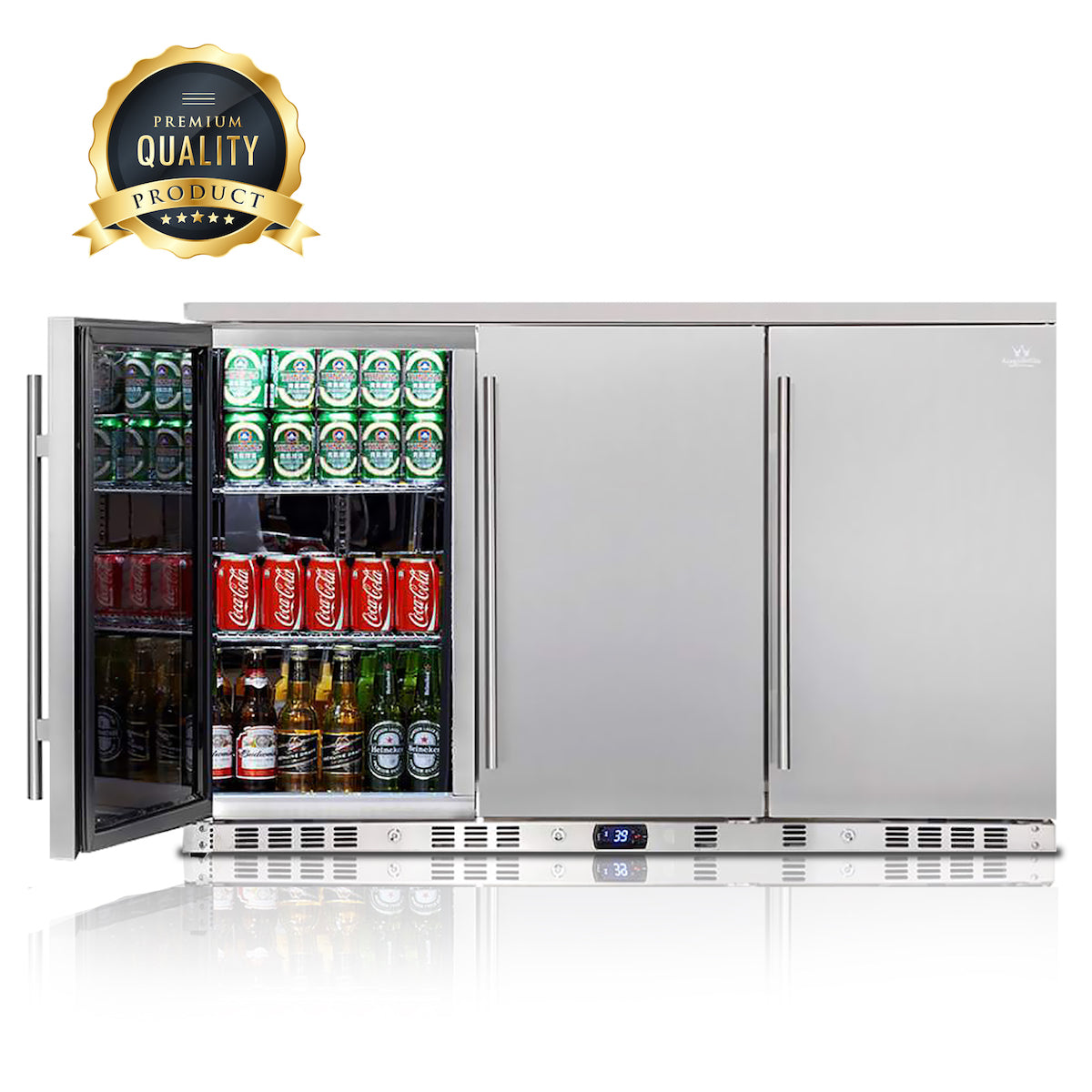 53 Inch Solid 3-Door Outdoor Beverage Drinks Cooler