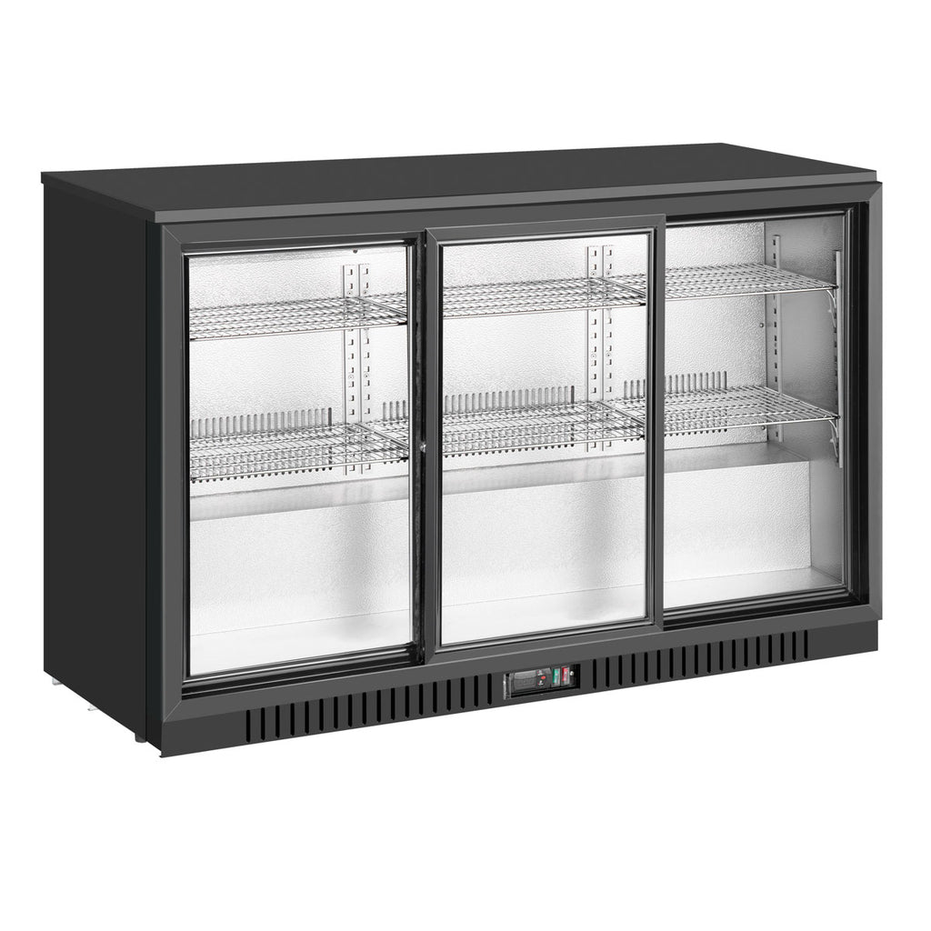 54 inch sliding glass 3 door back bar drinks cooler KBU330SC-BP