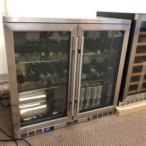 "SAMPLE FOR SALE | 36"" Beverage Cooler Fridge with Heating Glass Double Door"