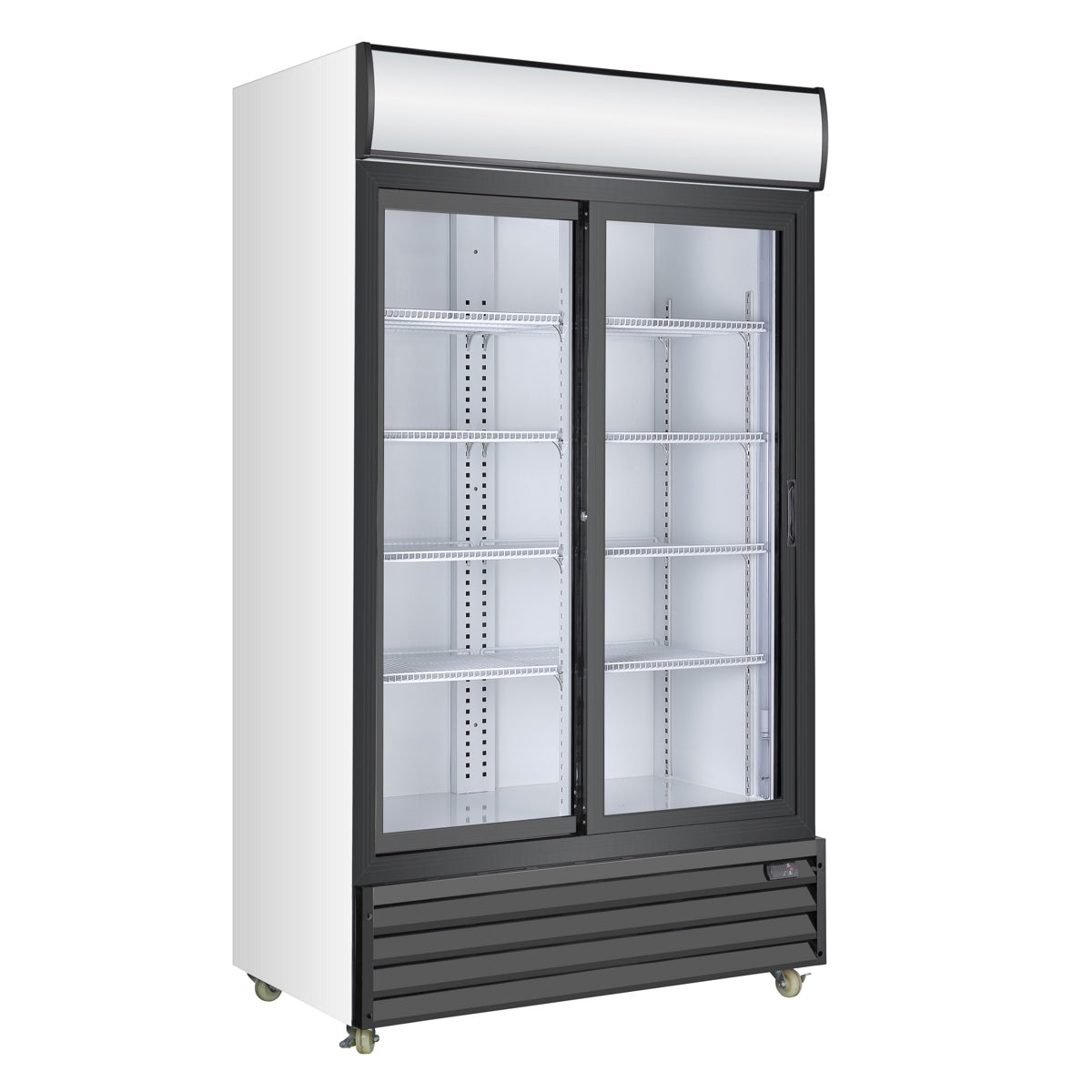 Double Sliding Door Display Beverage Cooler Refrigerator