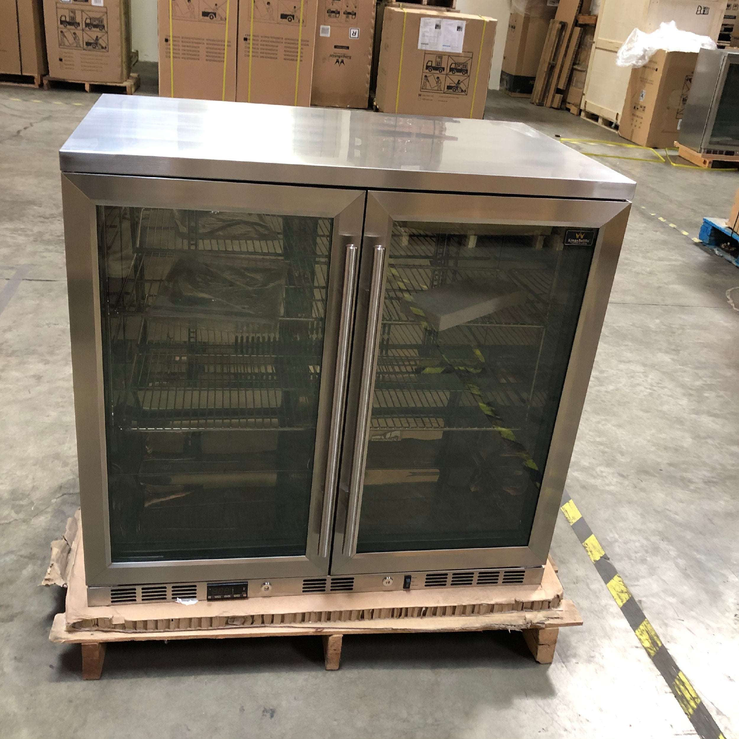 Refurbished Heating Glass Double Door Under Counter Beverage Cooler Fridge