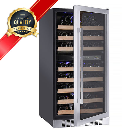Dual zone upright wine refrigerator with seamless stainless steel glass door | KingsBottle Wine Cooler KBU270DSS