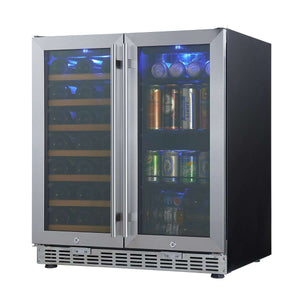 "30"" Beer and Wine Cooler Fridge, Double Door Beverage Center KBUSF66BW"