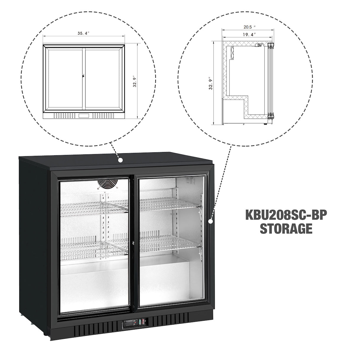 36 Inch Sliding Glass 2 Door Back Bar Beverage Refrigerator
