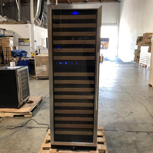 SOLD | REFURBISHED Glass Door Free Standing Large Dual Zone Used Wine Refrigerator for Sale