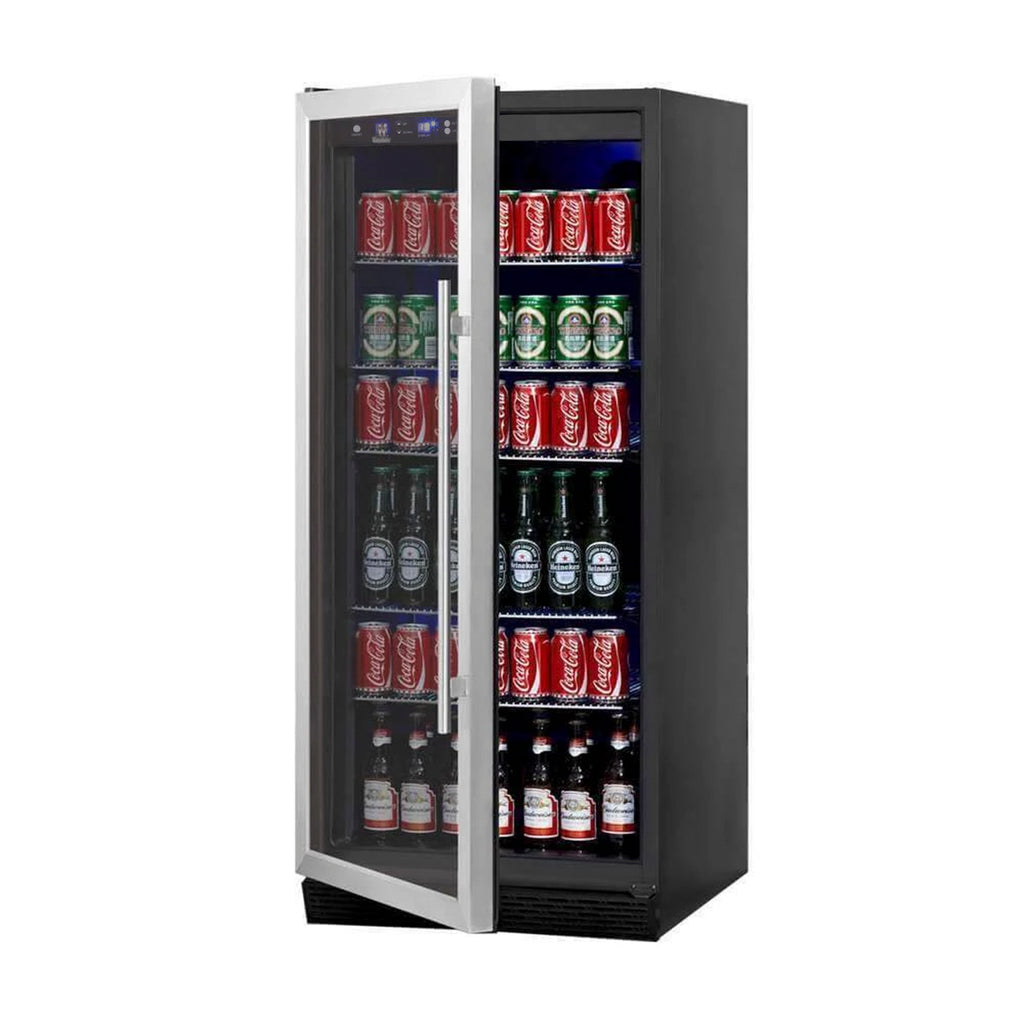 glass door upright beverage fridge KBU100BX-SS LHH