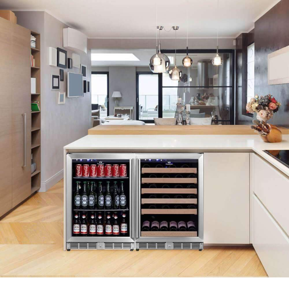 48 Inch Glass Door Side By Side Wine And Beverage Cooler Combo