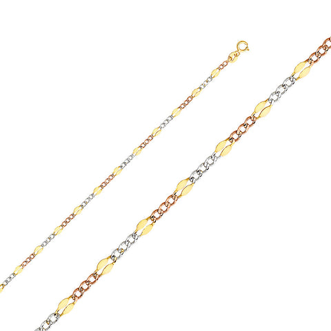 14K 3C 3.2mm Stamped Figaro 3+1 Chain - Top Gold & Diamond Jewelry