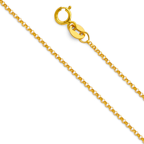 14KY 1.2mm Classic Rolo Cable Chain - Top Gold & Diamond Jewelry
