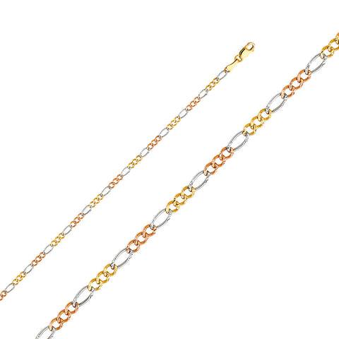 14K 3C 2.6mm Figaro 3+1 Concave Chain - Top Gold & Diamond Jewelry