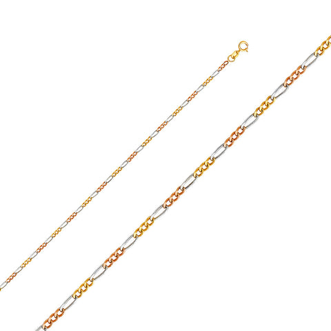 14K 3C 1.8mm Figaro 3+1 Concave Chain - Top Gold & Diamond Jewelry