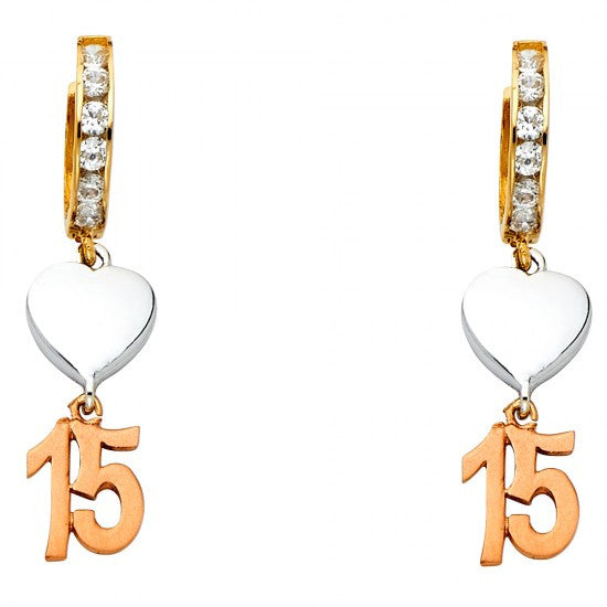 14K 3C CZ Hanging Huggies Earrings/Avg. Weight: 3.2 gr. - Top Gold & Diamond Jewelry