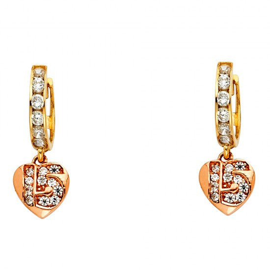 14K 3C CZ Hanging Huggies Earrings/Avg. Weight: 2.4 gr. - Top Gold & Diamond Jewelry