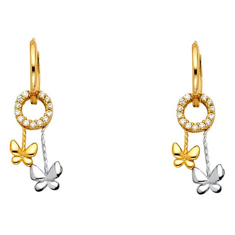14K 2T CZ Hanging Huggies Earrings/Avg. Weight: 1.6 gr. - Top Gold & Diamond Jewelry