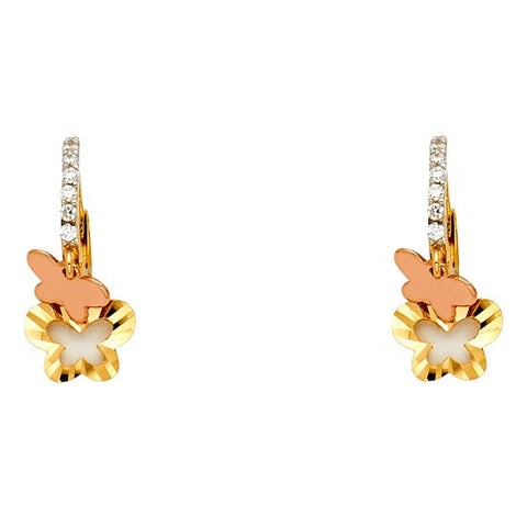 14K 2T CZ Hanging Huggies Earrings/Avg. Weight: 1.5 gr. - Top Gold & Diamond Jewelry