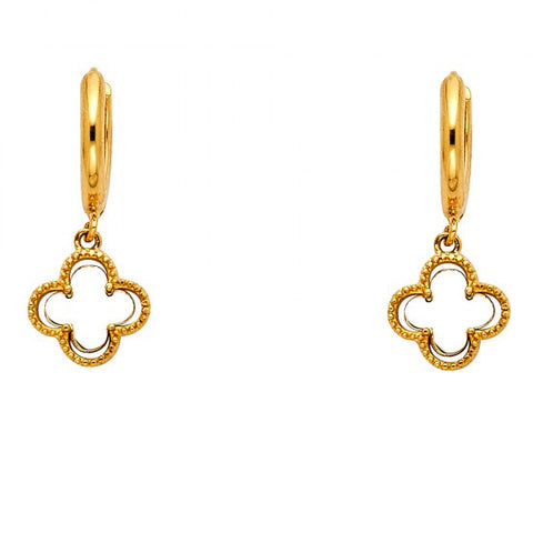 14K 2T CZ Hanging Huggies Earrings/Avg. Weight: 1.8 gr. - Top Gold & Diamond Jewelry