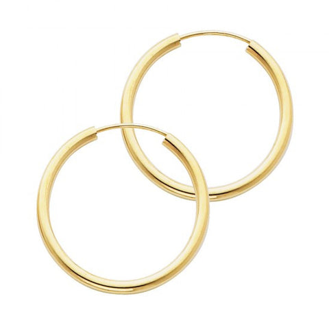 14K 2mm Hoop Earrings/Avg. Weight: 1.2 gr. - Top Gold & Diamond Jewelry