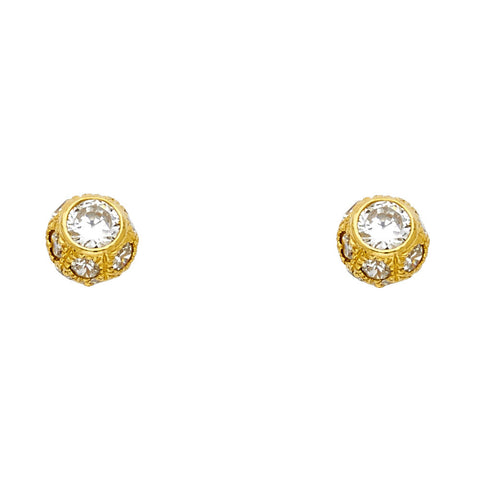 14KY CZ Ball Post Earrings.Avg. Weight: 2.5 gr. - Top Gold & Diamond Jewelry