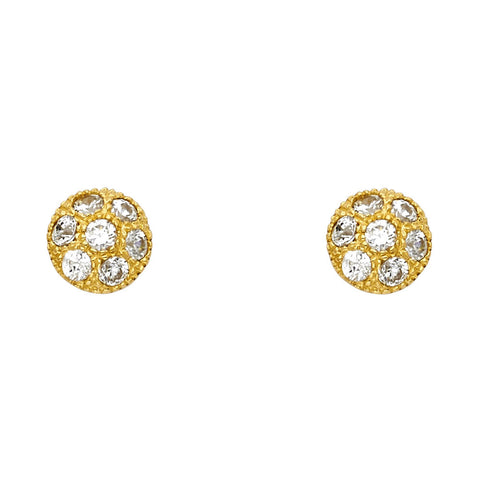 14KY CZ Ball Post Earrings.Avg. Weight: 1.8 gr. - Top Gold & Diamond Jewelry
