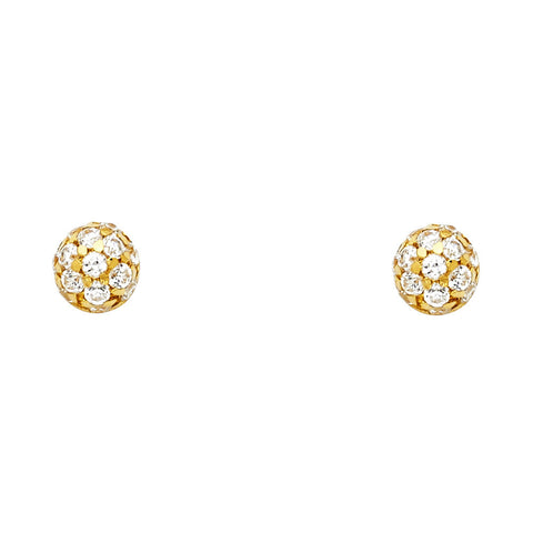 14KY CZ Half Ball Post Earrings.Avg. Weight: 1.2 gr. - Top Gold & Diamond Jewelry