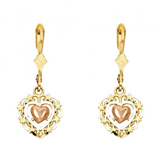 14K 2T Hanging Heart Earrings/Avg. Weight: 2.4 gr. - Top Gold & Diamond Jewelry