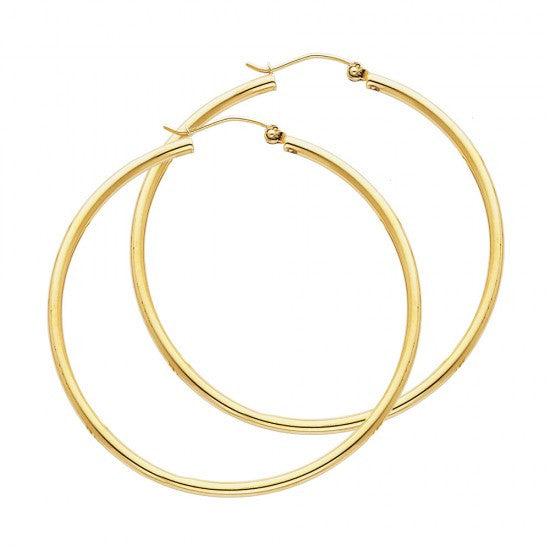 14K 2mm Hoop Earrings/Avg. Weight: 2.3 gr. - Top Gold & Diamond Jewelry