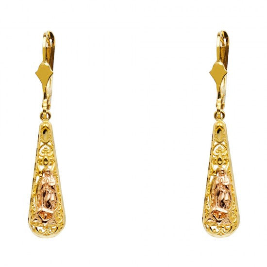 14K 2T Our Lady of Guadlupe Teardrop Hanging Earrings/Avg. Weight: 2.8 gr. - Top Gold & Diamond Jewelry