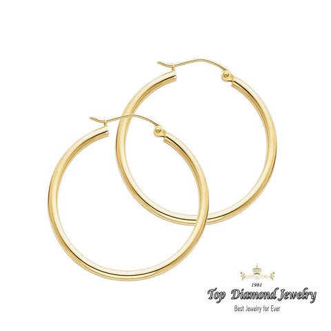 14K 2mm Hoop Earrings. Avg. We.: 1.6 gr. - Top Gold & Diamond Jewelry