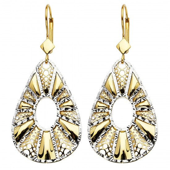 14K 2T Fancy Dangle Earrings W/Lever Back/Avg. Weight: 7.4 gr. - Top Gold & Diamond Jewelry