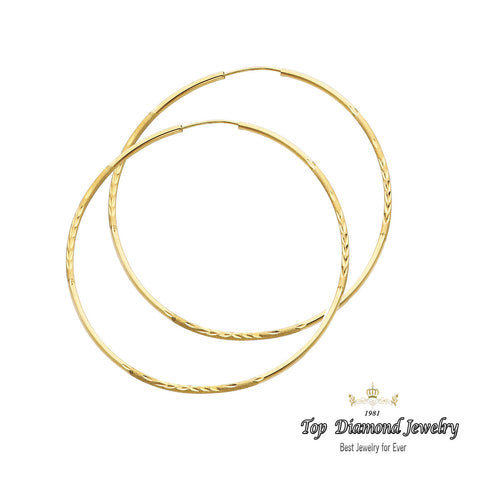 14K 1.5mm DC Hoop Earrings. Avg. We.: 2 gr. - Top Gold & Diamond Jewelry