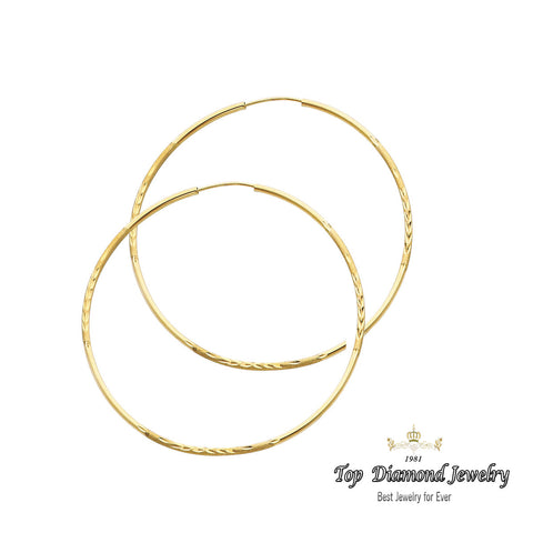14K 1.5mm DC Hoop Earrings. Avg. We.: 1.8 gr. - Top Gold & Diamond Jewelry