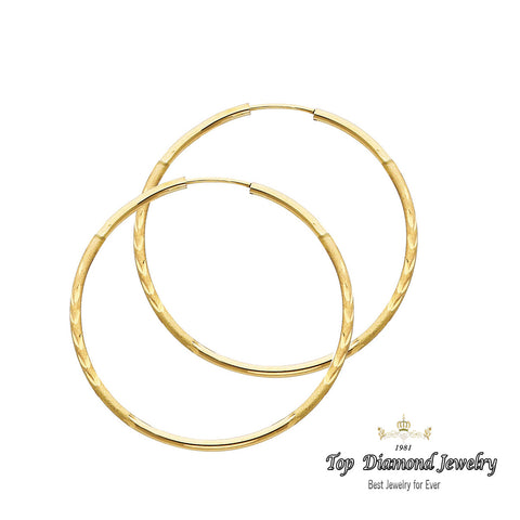 14K 1.5mm DC Hoop Earrings. Avg. We.: 1.4 gr. - Top Gold & Diamond Jewelry