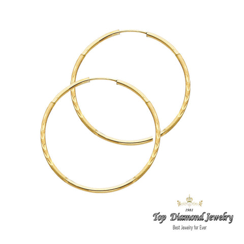 14K 1.5mm DC Hoop Earrings - Top Gold & Diamond Jewelry