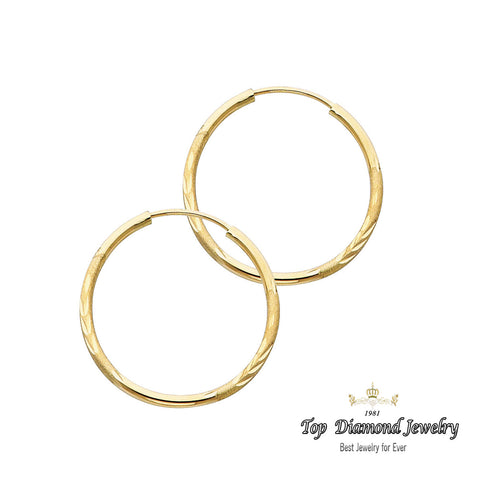 14K 1.5mm DC Hoop Earrings.Avg. We.: 0.9 gr. - Top Gold & Diamond Jewelry