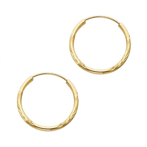 14K 1.5mm DC Hoop Earrings/Avg. Weight: 0.7 gr. - Top Gold & Diamond Jewelry