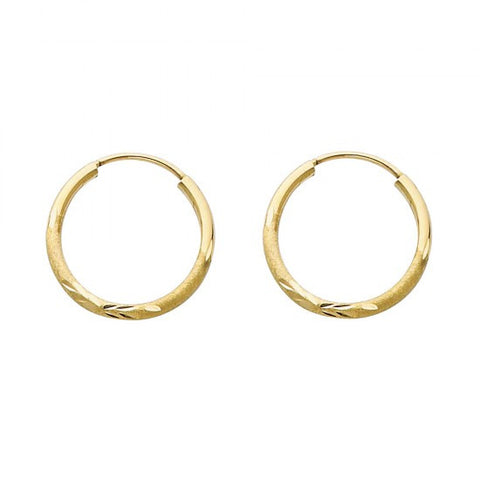 14K 1.5mm DC Hoop Earrings/Avg. Weight: 0.6 gr. - Top Gold & Diamond Jewelry
