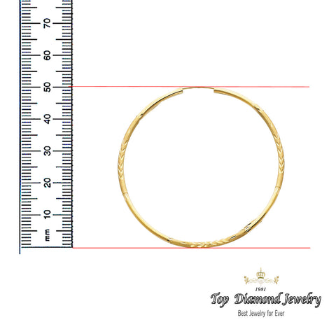 14K 2mm DC Hoop Earrings. Avg. We.: 2.4 gr. - Top Gold & Diamond Jewelry