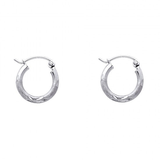14K 2mm DC Hoop Earrings/Avg. Weight: 0.7 gr. - Top Gold & Diamond Jewelry