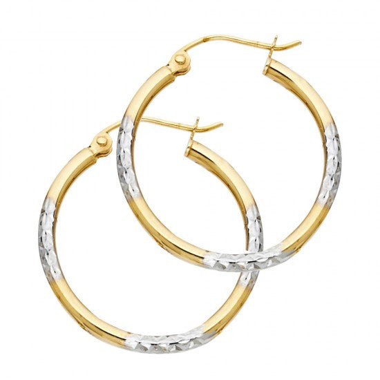 14K 2T 1.5mm DC Tube Hoop Earrings.Avg. Weight: 1.2 gr. - Top Gold & Diamond Jewelry