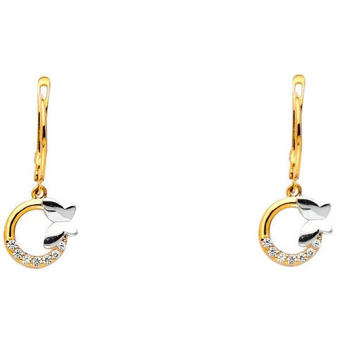 14K 2T Butterfly CZ Earrings.Avg. Weight: 1.4 gr. - Top Gold & Diamond Jewelry