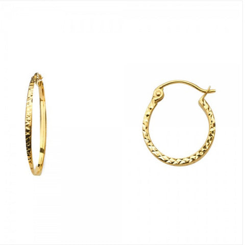 14K 1.5mm Square Tube DC Hoop Earrings/Avg. Weight: 0.9 gr. - Top Gold & Diamond Jewelry