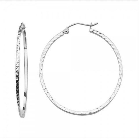 14K 1.5mm Square Tube DC Hoop Earrings/Avg. Weight: 1.6 gr. - Top Gold & Diamond Jewelry