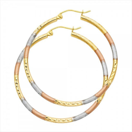 14K 3C 2mm Tube DC Hoop Earrings/Avg. Weight: 2.5 gr. - Top Gold & Diamond Jewelry