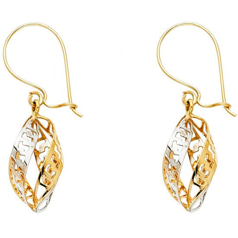 14K 2T Greek Cut Out Hanging Earrings/Avg. Weight: 1.9 gr. - Top Gold & Diamond Jewelry