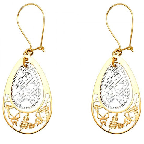 14K 2T Butterfly Cut Out Teardrop Earrings/Avg. Weight: 1.8 gr. - Top Gold & Diamond Jewelry