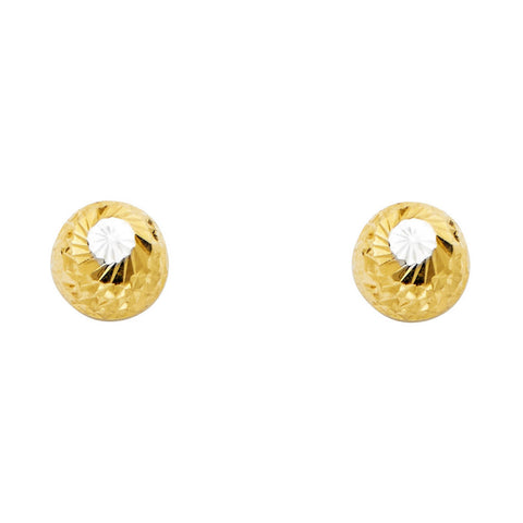 14K 2T 8mm DC Half Ball Earrings W/PB.Avg. Weight: 1.2 gr. - Top Gold & Diamond Jewelry