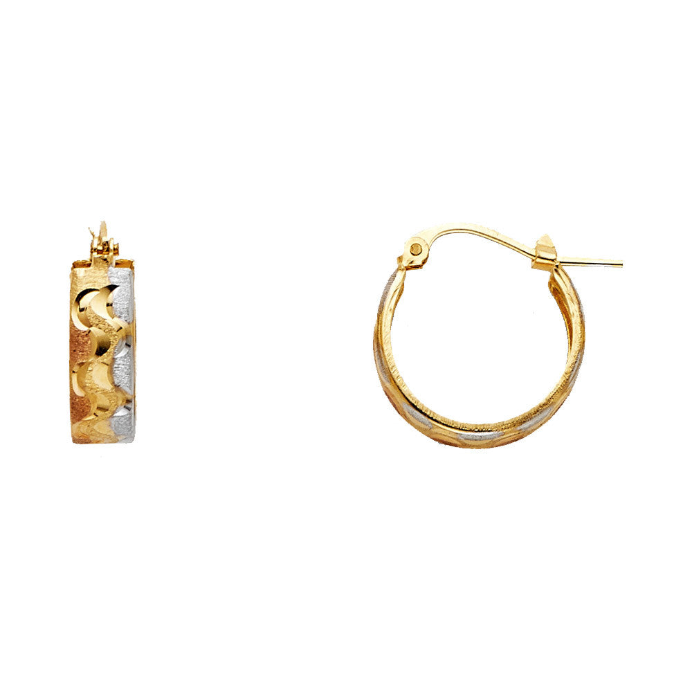 14K 3C DC Stamp Hoop Earrings/Avg. Weight: 1.5 gr. - Top Gold & Diamond Jewelry