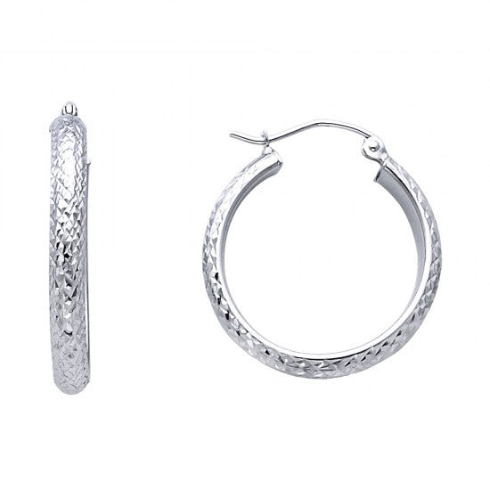 14K 3.5mm DC Hoop Earrings.Avg. Weight: 1.6 gr. - Top Gold & Diamond Jewelry