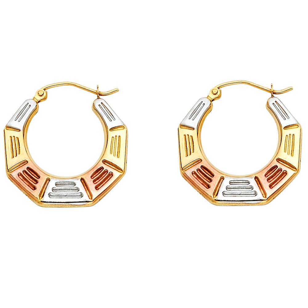 14K 3C Fancy Hollow Hoop Earrings/Avg. Weight: 1.1 gr. - Top Gold & Diamond Jewelry
