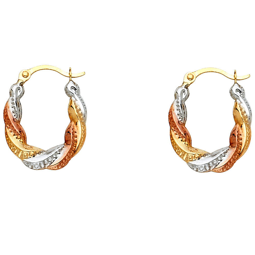 14K 3C Fancy Hollow Hoop Earrings/Avg. Weight: 0.5 gr. - Top Gold & Diamond Jewelry